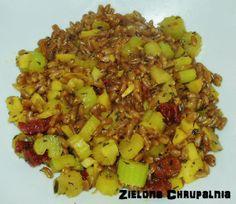 Zielona Chrupalnia : ziarna orkiszu + seler-pietruszka-suszone pomidory...