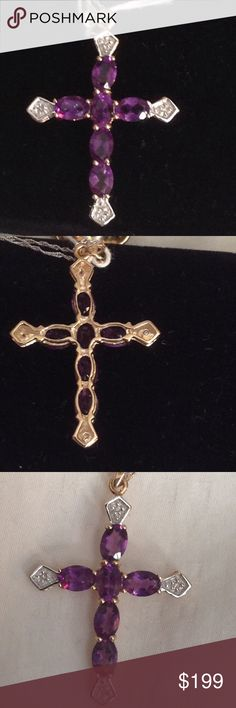 10KT Amethyst Cross Dia/Accents 10KT wht & yellow gold Natural Amethyst & Diamonds accented Jewelry Necklaces