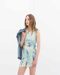 Image 1 of STRAPPY  PRINTED DRESS from Zara