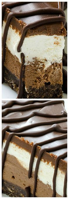 Layered Chocolate Cheesecake With Oreo Crust – No Bake Layered Chocolate Cheesecake with Oreo Crust – creamy, moist and very delicious cake! Perfect for every occasion and so easy and quick to make – Layered Chocolate Cheesecake with Oreo Crust – No Bake! No Bake Desserts, Just Desserts, Delicious Desserts, Dessert Recipes, Yummy Food, Delicious Chocolate, Health Desserts, Recipes Dinner, Cupcakes