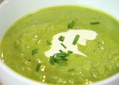 Fresh Pea Soup - use veg stock in place of chicken stock.