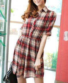 Short Sleeves Shirt Dresses in Check Print