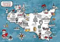 SICILY TO DISCOVER - ILLUSTRATION & MAP by Federico Mariani