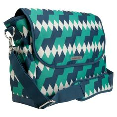timi & leslie Emerald Lagoon Messenger Diaper Bag with Changing Pad