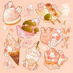 Cute Food Drawings, Cute Animal Drawings Kawaii, Arte Do Kawaii, Kawaii Art, Kawaii Doodles, Cute Doodles, Aesthetic Art, Aesthetic Anime, Japon Illustration