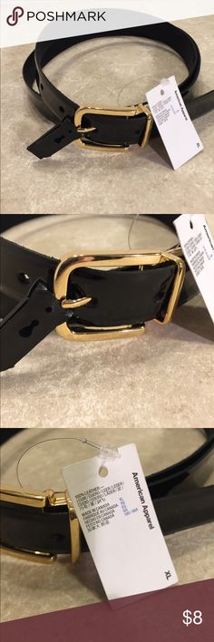 American Apparel paten leather belt gold NWT This is a black leather belts from American apparel, size XL, gold hardware, new with tags's, have a small wear a spot at tip of belt, see picture. Full length 42 inches, first notch at 34 inches last notch at 38, with 1 inch width. See pictures for details. Be sure and check out other items in closet and bundle to receive discounts. American Apparel Accessories Belts