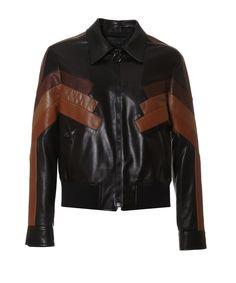 NEIL BARRETT Neil Barrett Men'S  Brown/Black Leather Outerwear Jacket'. #neilbarrett #cloth #coats & jackets