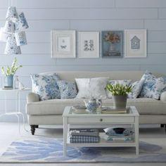 Like this idea for changing the livingroom up for summer.     MOM Living Room Design Blue on Blue Living Room