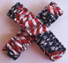 Red White Blue Costume Accessory fnt 2 Patriotic Garters or Armbands