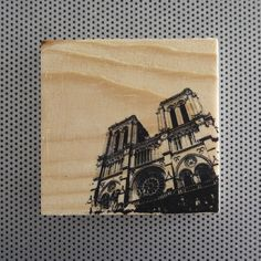 "Notre Dame 4x4"" handmade Paris church wood grain block photo artwork desk art gothic architecture Parisian stained glass travel France"