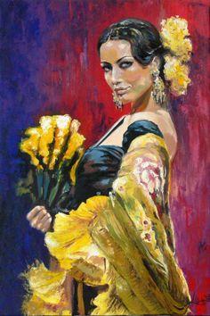 Custom Portrait Original Oil Painting Flamenco Dancer With A Dance Paintings, Old Paintings, Pop Art, Dance Art, Custom Art, Painting Process, Modern Art, Wedding Portraits, Painting Canvas