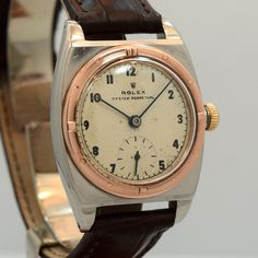 1943 Vintage Rolex Viceroy Ref. 3358 Rose Gold And Stainless Steel Watch Rolex Vintage, Vintage Watches, Old Watches, Popular Watches, Rolex Submariner, Luxury Watches For Men, Beautiful Watches, Stainless Steel Watch, Rose Gold