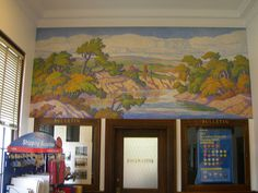 "Lindsborg, Kansas   New Deal mural entitled ""Smoky River"" painted by Birger Sandzen in 1938."