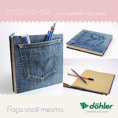 A calça jeans velha e usada pode ter uma nova utilidade no mês de volta as aulas, sabia?  Faça você mesmo a sua agenda customizada! #customização #diy