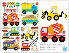 Construction Truck Wall Stickers for Boys Rooms