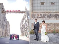 Pic under the Pabst sign (ceremony location). Photo by M Three Studio.