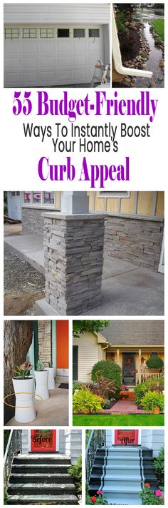 Boost your home's curb appeal with these great DIY ideas. These cheap projects will help increase the value of your home.  #homeimprovement #diy #projects #curbappeal