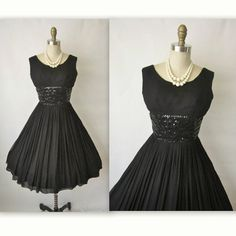 50's Chiffon Dress // Vintage 1950's Black by TheVintageStudio, $162.00