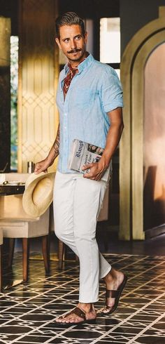 Linen Outfits For Men, Summer Outfits Men, Ibiza Outfits, Casual Outfits, Outfits Hombre, Relaxed Outfit, Trousers Mens, Linen Trousers, Linen Suit