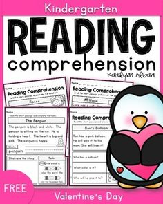 FREE Reading Comprehension sheets for kindergarten - valentine's day freebie!