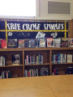 My True Crime Stories Bulletin Board for Thomas Downey High School Library.