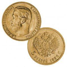 Russland, 5 Rubel 1898 (Regent Nikolaus II.), 900er Gold, 4,3g, Ø 19mm