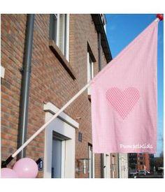 Hang de gevelvlag uit bij de geboorte van je baby! Extra feestelijk.Daarna kan de vlag uit bij elke verjaardag. Je hebt er dus jaren plezier van.MAAT: 120 x 60 x 60 cm. geschikt voor een vlaggenstok van 2.50 meter.