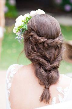 Boho braided wedding hair | Liesl Cheney Photography | See more: http://theweddingplaybook.com/watercolour-garden-wedding-inspiration/