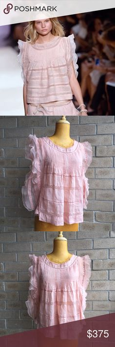 Isabel Marant SS14 Antique Rose Ojima Ramie Top 36 ~ Please, no offers ~ Rare & beautiful Isabel Marant SS14 Runway Collection 'Ojima' Antique Rose Ramie Top. Retail $800. FR36 US4 - bust 35, length 23 100% cotton ramie with sheer tonal 100% silk organza trim. Isabel Marant's classic rockabilly chic ruffled Ojima baby doll blouse. Pintuck pleats. Open macrame striping. Trapeze silhouette. Pull on styling. Excellent condition - No damages to note. Please let me know if you have any questions…