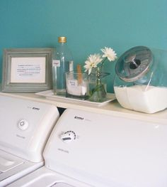 Laundry room: Shelf above top load washer/dryer. Definitely doing this to hide the ugly hoses and cords behind the washer and dryer. Laundry Closet, Laundry Room Organization, Laundry In Bathroom, Organization Hacks, Laundry Rooms, Laundry Area, Small Laundry, Paint Colors Laundry Room, Laundry Storage