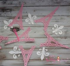 Pink and White with Gold shimmer Eiffel by BrandalynsBowtique, $12.99