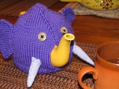 Free knitting pattern for Elephant Teapot Cozy - Trampled by Geese took advantage of the teapot spot for this cute cozy.