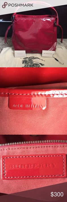Authentic BURBERRY bag Excellent used condition, just sitting in my closet, this baby needs a new home.. noticed a tiny white mark in front near logo and at the back pls see foto, but not noticeable unless u look closer, i didn't try to remove it.. No rips nor tear..  medium to large bag depends on how u adjust the straps on the sides.. 100% AUTHENTIC, comes with dust bag, tag and card.  Measurements: L: 20inches when lying flat or 13inches when straps are all the way up on the sides, H…