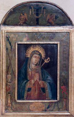 """Retablo """"Virgen de los Dolores"""" Colonial venezolano, Edo Lara, Tocuyo, Siglo XVIII, oleo/tabla, med: 68,5X43,5 cms."""