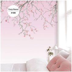Nieuwste ontwerp afdrukken non-woven grote herhaal wallpapers gradiënt bloem Plum bloemen voor slaapkamer TV achtergrond chinese stijl muurschildering