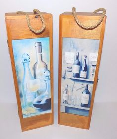 Lot of 2 Wooden Wine Carrying Boxes Wine Motif Carrying Handle Hinged #Unbranded
