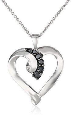 Sterling Silver Black Diamond Heart Pendant Necklace (1/4 Cttw), 18″by Amazon Curated Collection - See more at: http://blackdiamondgemstone.com/jewelry/necklaces/pendants/sterling-silver-black-diamond-heart-pendant-necklace-14-cttw-18-com/#sthash.WoFrPH6N.dpuf