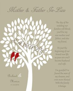 Mother of the Bride and Groom Gift MOTHER & FATHER by WhisperHills