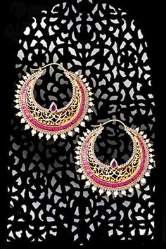 "Ruby and seed pearl filigree ""chaand baali's"""