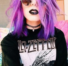 Pastel Grunge Led Zeppelin Inspired Outfit with Purple Dyed Hairstyle, Chokers Necklace, Septum Piercing, Black Lipstick and Sunglasses - http://ninjacosmico.com/9-fashion-tips-pastel-grunge/