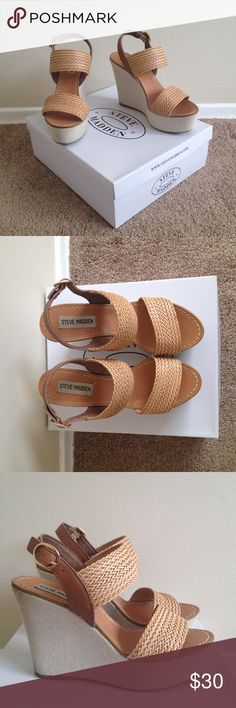 """Steve Madden tan wedge sandals. Steve Madden tan wedge sandals. 4.5"""" heels, in great condition. Very stylish and can be worn casually or dressed up. Steve Madden Shoes Wedges"""