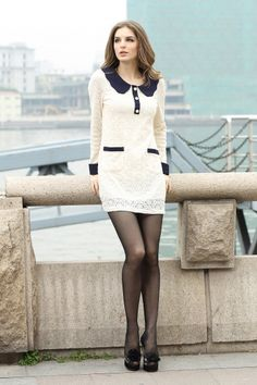 White Lace Dress with Navy Peter Pan Collar, Details, and Buttons
