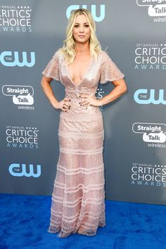 All the Gorgeous 2018 Critics' Choice Awards Red Carpet Arrivals -  Kaley Cuoco from InStyle.com