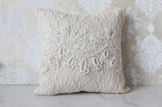 Antique Beaded Pillow  Antique 1900's lace adorned with beaded pearl embroidery.    Perfect for your vintage wedding.