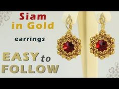 Beading tutorial earrings with 14 mm rivolis - YouTube