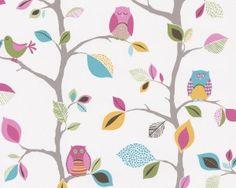 Graham & Brown Kids Girls Olive The Owl Vintage LOOK Wallpaper Nursery Bedroom for sale online Wallpaper Pink And Blue, Look Wallpaper, Feature Wallpaper, Bird Wallpaper, Pattern Wallpaper, Beautiful Wallpaper, Owl Bedrooms, Tree Bedroom, Kids Bedroom