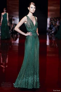 elie saab fall winter 2013 2014 couture green sleeveless dress v neck