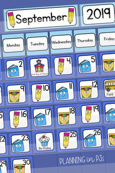 Back to School Calendar Numbers Calendar Number cards in an ABC Pattern, and school supply theme! Kindergarten Calendar, Calendar Activities, Classroom Calendar, School Calendar, Kindergarten Classroom, Classroom Decor, Letter Flashcards, Calendar Numbers, Pocket Calendar
