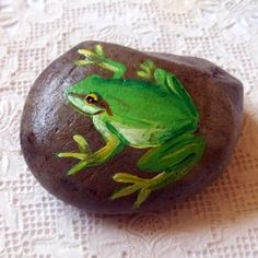 Frog Rock Art. $10.00, via Etsy.