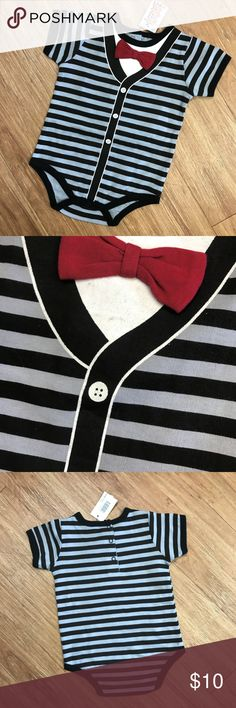 "Spencer's Baby Bow Tie Bodysuit Black Gray Red NEW Spencer's Baby Bow Tie Bodysuit Black Gray Red NEW NWT 12-18 mo  Some of the design on the screenprinted ""shirt"" at the top did not completely transfer so it looks like it has black marks on it but it's just where the stripes below are showing through.  Came from the store like this.  See pic.  Snaps in back and at stride.  16.5"" from midpoint of back of neck to midpoint of stride at fold Spencer's One Pieces Bodysuits"